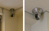 Examples of how cameras are installed at the business center: